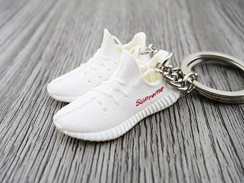 Mini Sneaker Keychains Adidas Yeezy Boost 350 V.2 - Supreme White/ Red