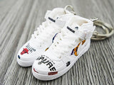 Mini sneaker keychain Air Force 1 HIGH NBA White