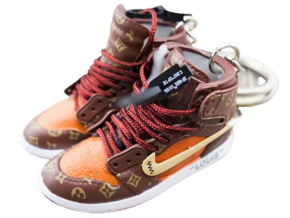 Mini sneaker keychain 3D Air Jordan 1 x OW x LV inspired - EXCLUSIVE - Limited edition