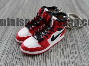 675c24de07d0fb Mini sneaker keychain 3D Air Jordan 1 OG White Black Red - CHICAGO (19 – Mini  Sneaker Shop