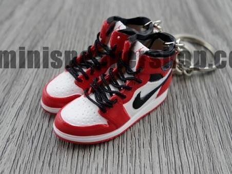 finest selection f84f6 7b778 Mini sneaker keychain 3D Air Jordan 1 OG White Black Red - CHICAGO (1985)
