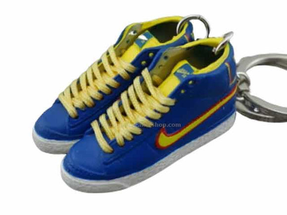mini 3D sneaker keychains Nike Blazer - electric blue/yellow