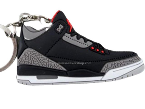 Flat Silicon Jordan 3 keychain - Black Cement Grey