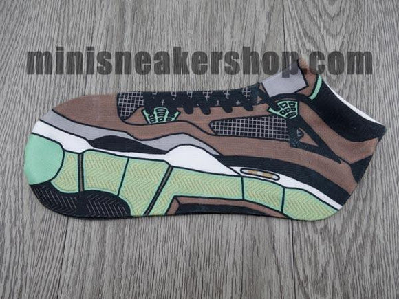 sneaker socks - jordan 4 - Brown Green