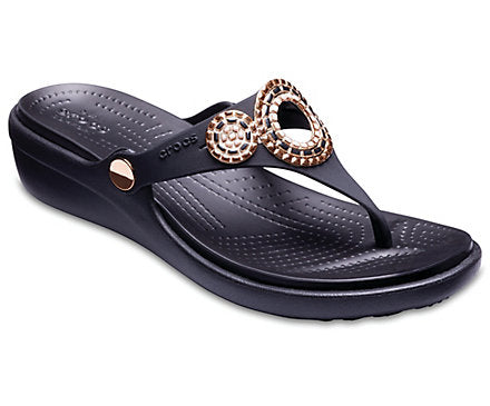 Crocs - Women's Sanrah Embellished Diamante Wedge Flips