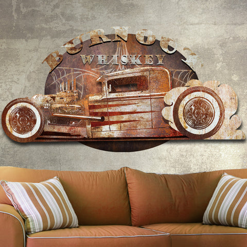 3D BURN OUT WHISKEY DIMENSIONAL METAL WALL ART 46 INCHES BY 34 INCHES