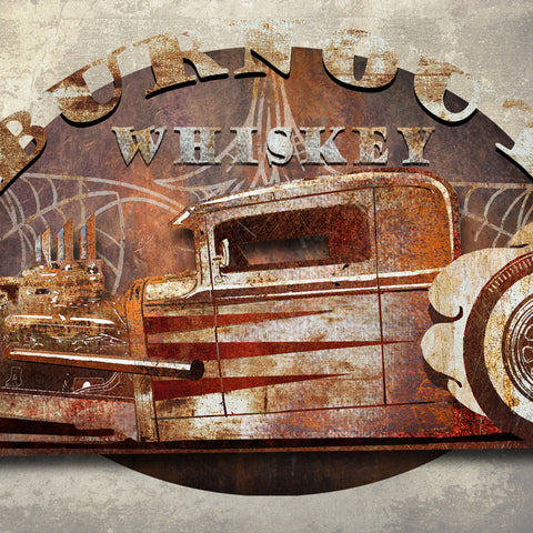 3D BURN OUT WHISKEY DIMENSIONAL METAL WALL ART 48 INCHES BY 36 INCHES