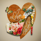 I Love Shoes Shoe and Heart Decorative 3D Dimensional Metal Wall Décor Sculpture.