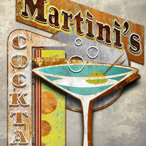MARTINI'S 3D METAL WALL ART 48 INCHES BY 34 INCHES