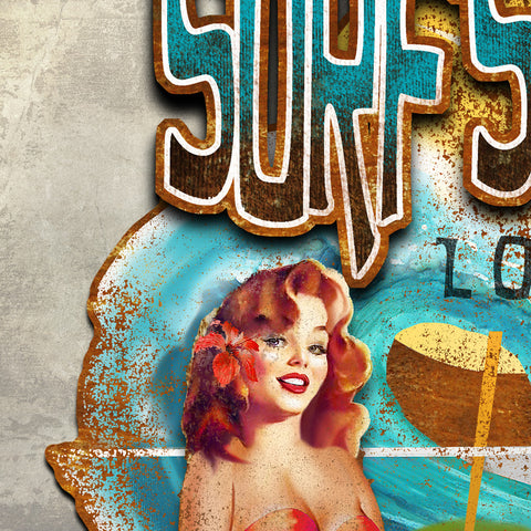 SURF'S UP LOUNGE DIMENSIONAL METAL WALL ART 36 INCHES BY 24 INCHES