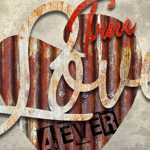 3d TRUE LOVE 4 EVER METAL WALL ART 39 in by 39 in