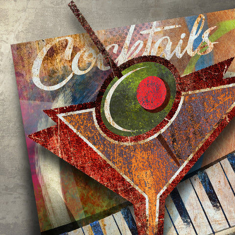 COCKTAILS DIMENSIONAL METAL WALL ART 38 INCHES BY 32 INCHES