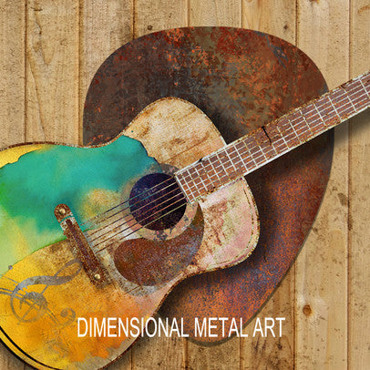 Metal Guitar and Pick Wall Decor