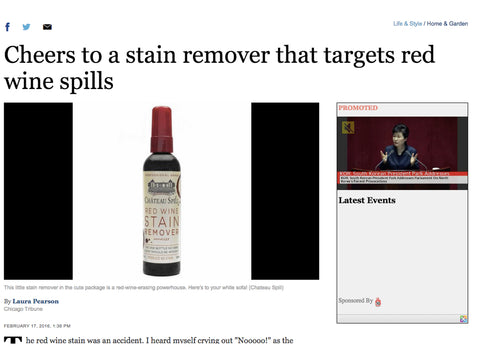 Chicago Tribune gives its Endorsement of the Power of Chateau Spill to Remove Red Wine Stains