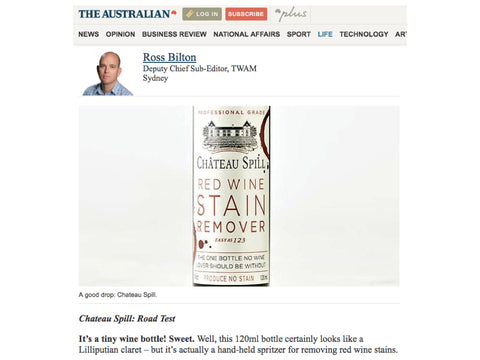 Chateau Spill Red WIne Stain Remover featured in The Australian