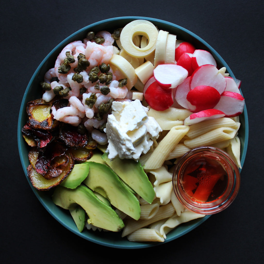 Nordic shrimp pasta salad