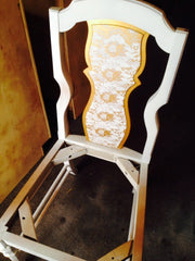 lace gold white dining chair makeover vanity