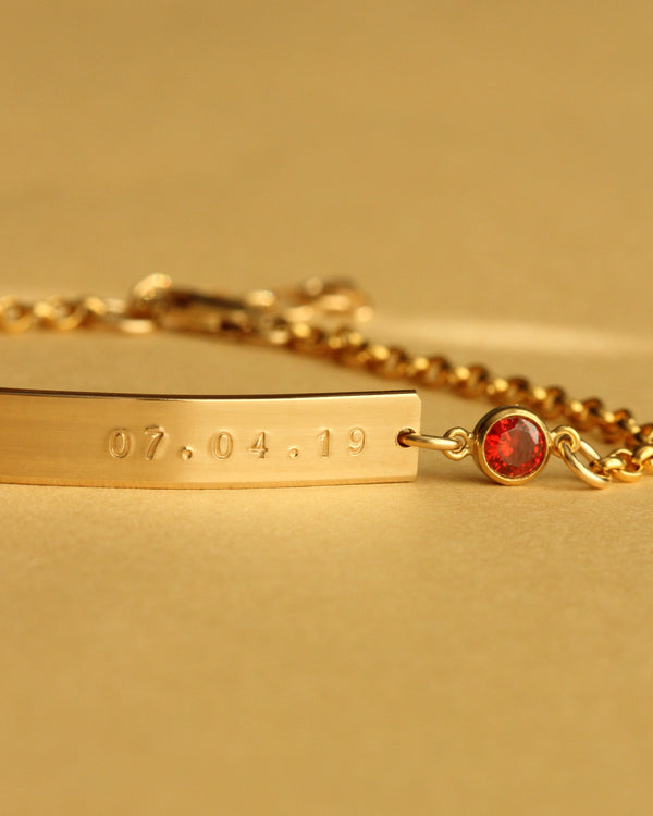 skinny date bar bracelet with birthstone
