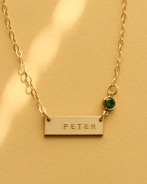 mini classic bar necklace with birthstone