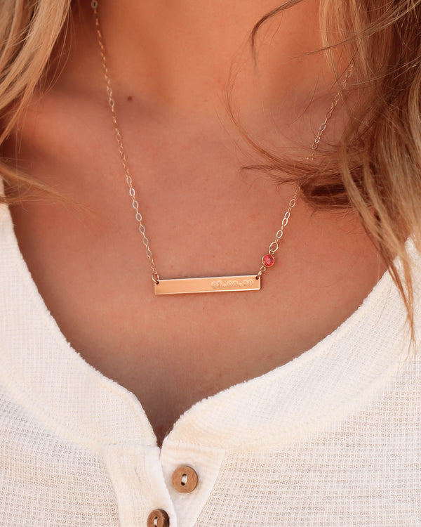 skinny date bar necklace with birthstone