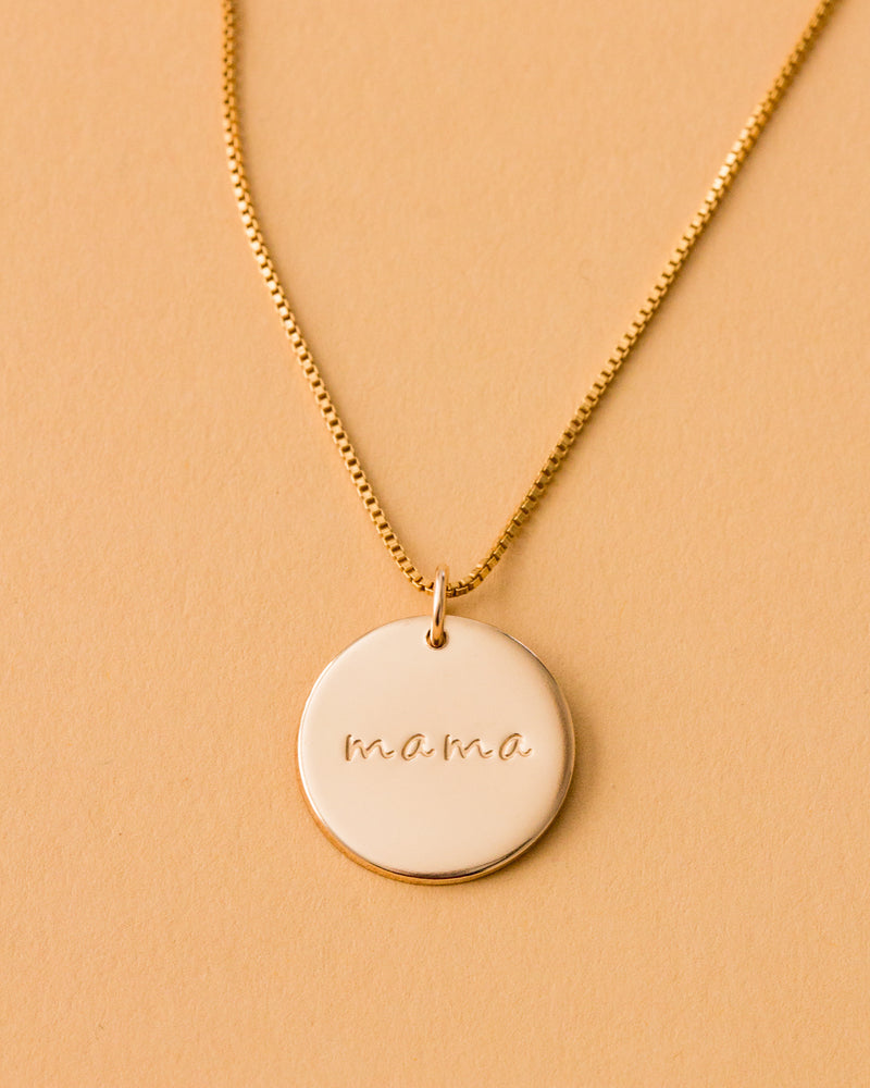 "Mama 5/8"" Disc Necklace"