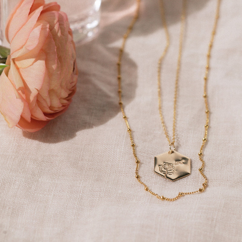 Intention & Enjoying the Journey Bee & Peony Necklace