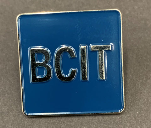 "BCIT Lapel Pin Blue/Silver 1"" X 1"""