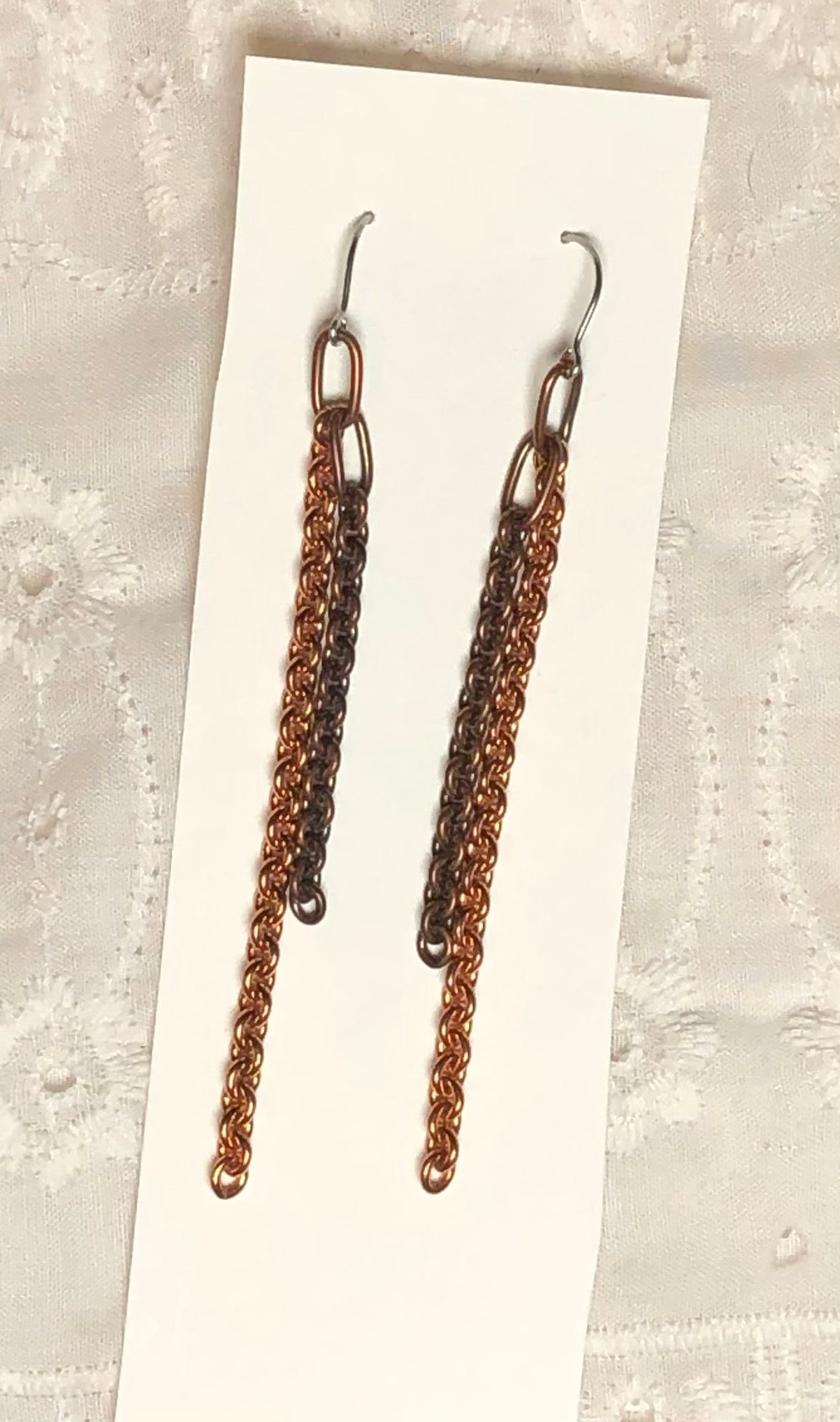 More Copper Chain & Steel Dangle Earrings