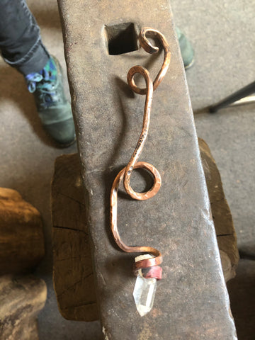 Hammered Copper with Quartz Magical Wand 8 inches