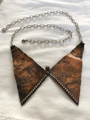 Hammered Copper with Silver Fused Trim & rough Garnet Necklace