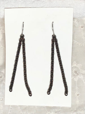 Patina Copper Chain & Steel Dangle Earrings