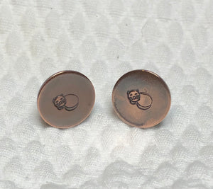 Sleepy Cat Stamped Copper & Sterling Silver Post Earrings