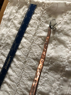 Hammered Copper With Sterling Silver & Quartz Magical Wand 9.25 inches