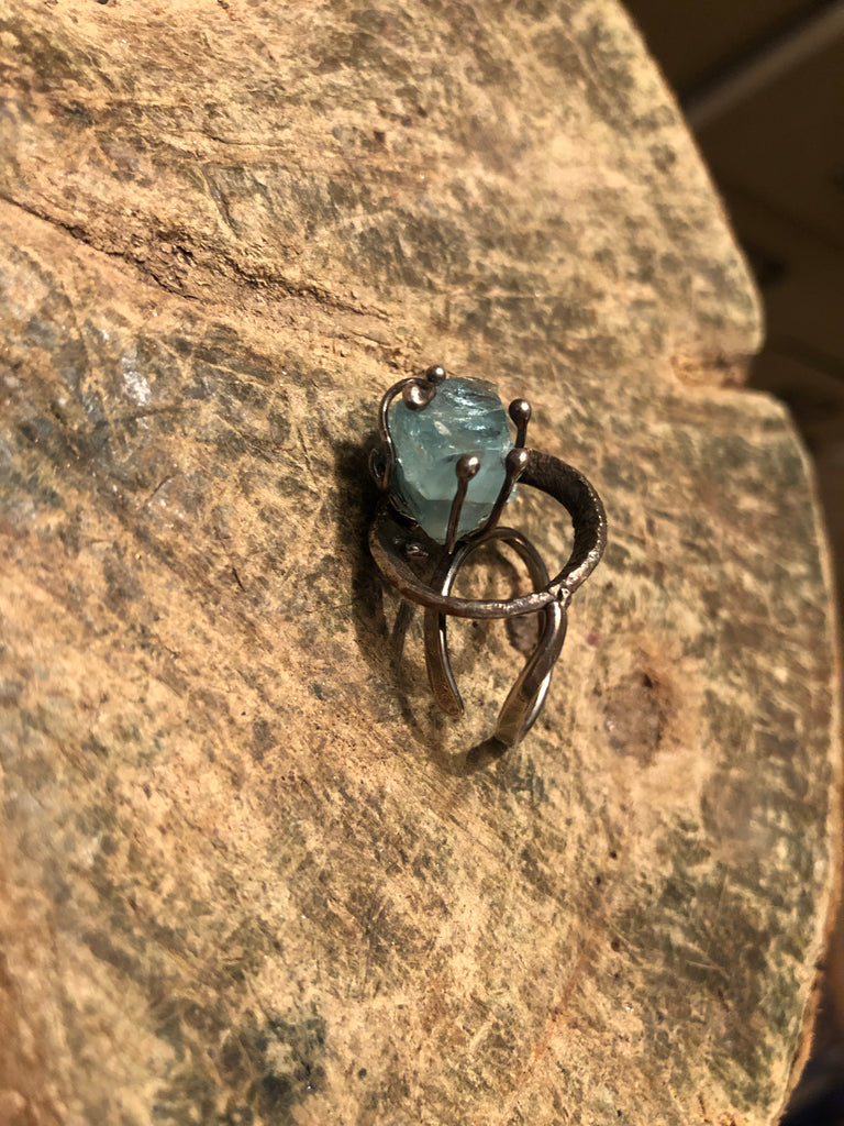 Sterling Silver with Copper and Rough Aquamarine Ring size adjustable