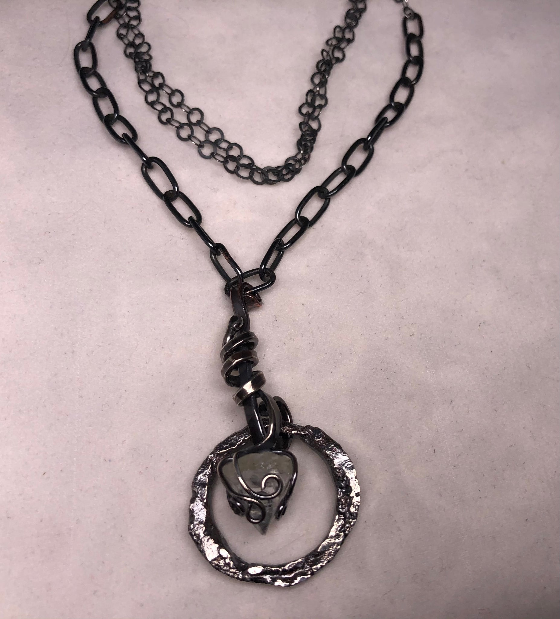 Sterling Silver, Copper, and Quartz Necklace 17inches