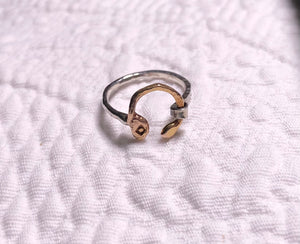 Hammered, Sterling Silver, 14ky Gold Ring size 4.25