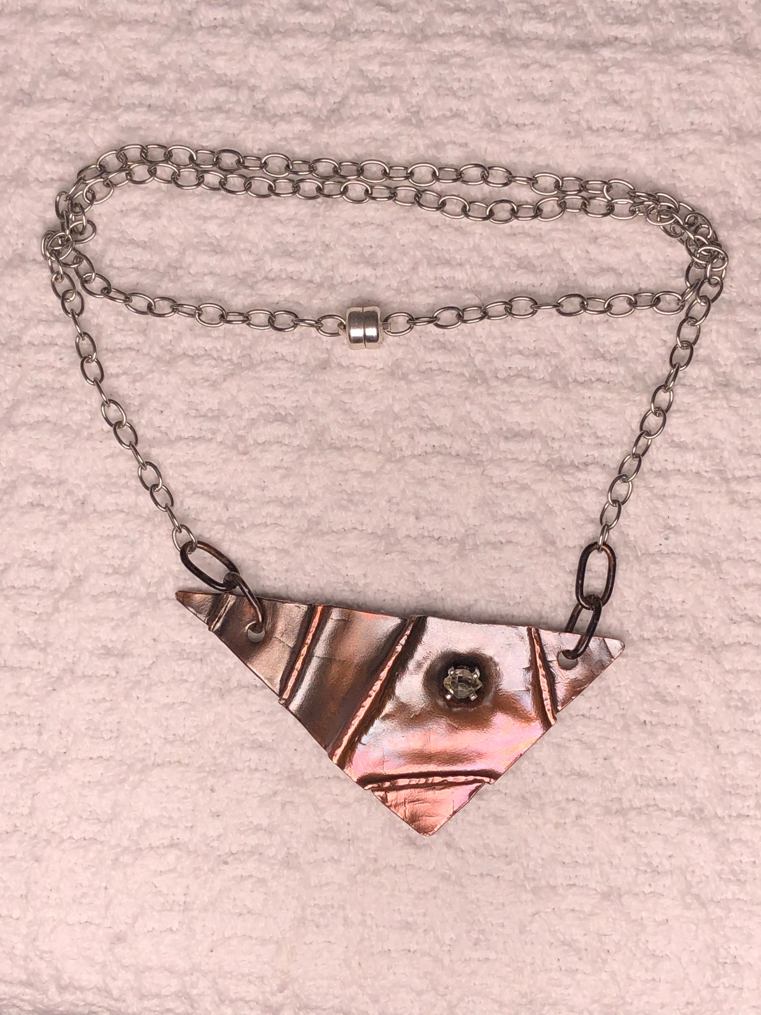 Hammered Folded Copper with fused Silver setting with Herkimer 10inch Necklace