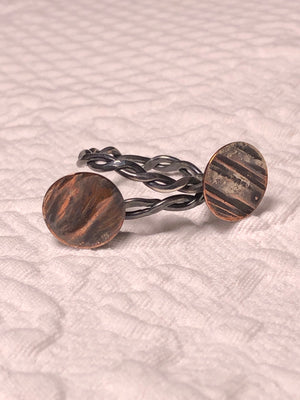 Copper and Silver fused Ring size 7
