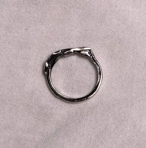 Hammered, Tied, Fused, Sterling Silver Ring size 4.25