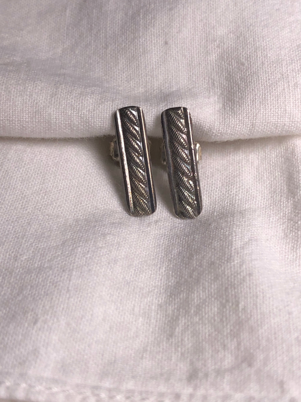 Sterling Silver Patterned Post Earrings