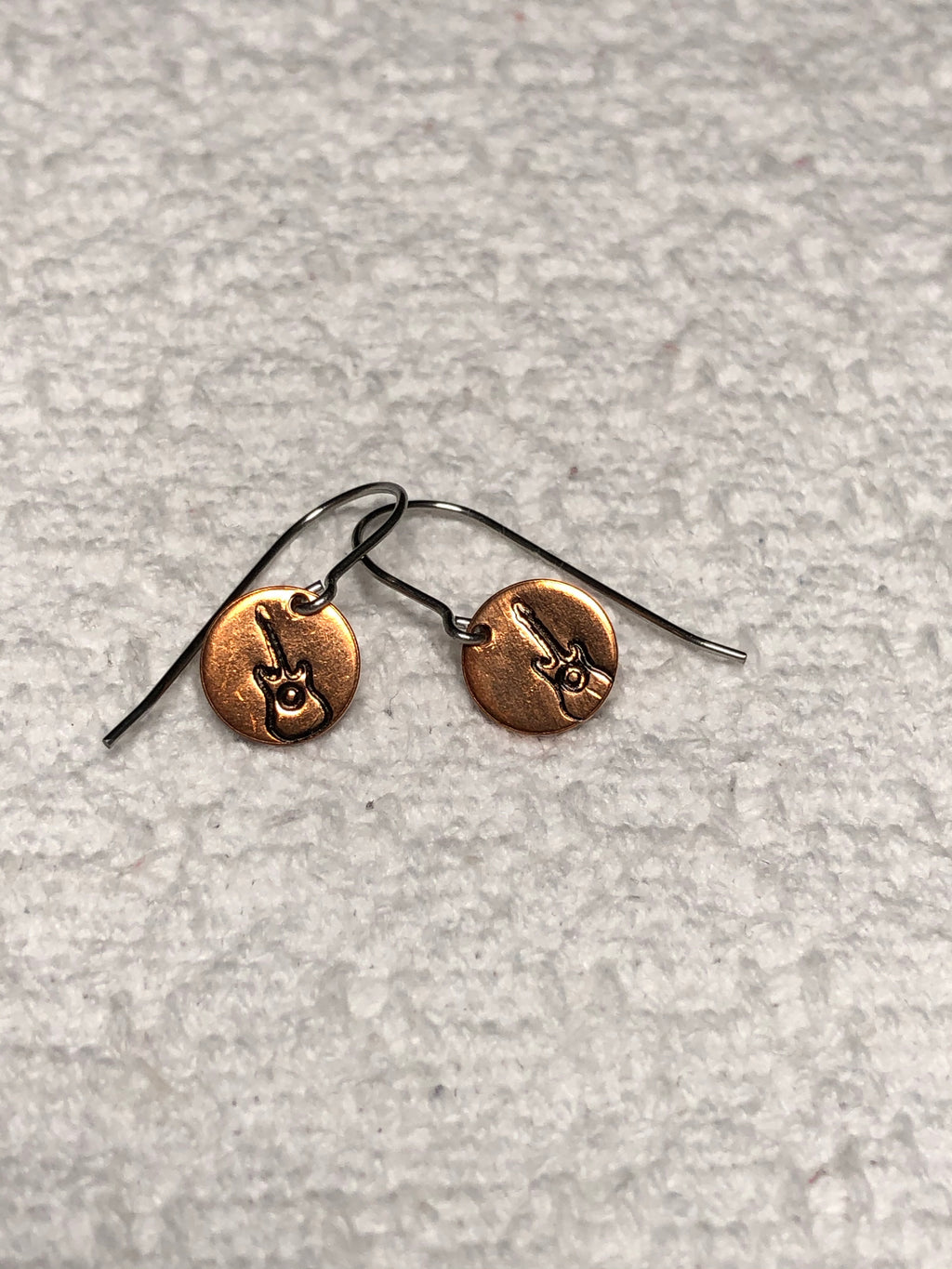 Copper & Steel Stamped Guitar Dangle Earrings