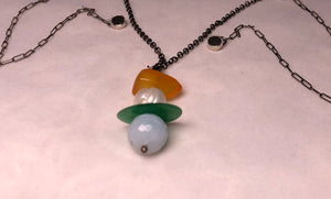 Sterling Silver with Amber, Pearl, Jade donut, Aquamarine Necklace 12 inch