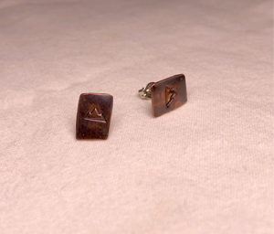 Mountain Stamped Copper & Sterling Silver Post Earrings