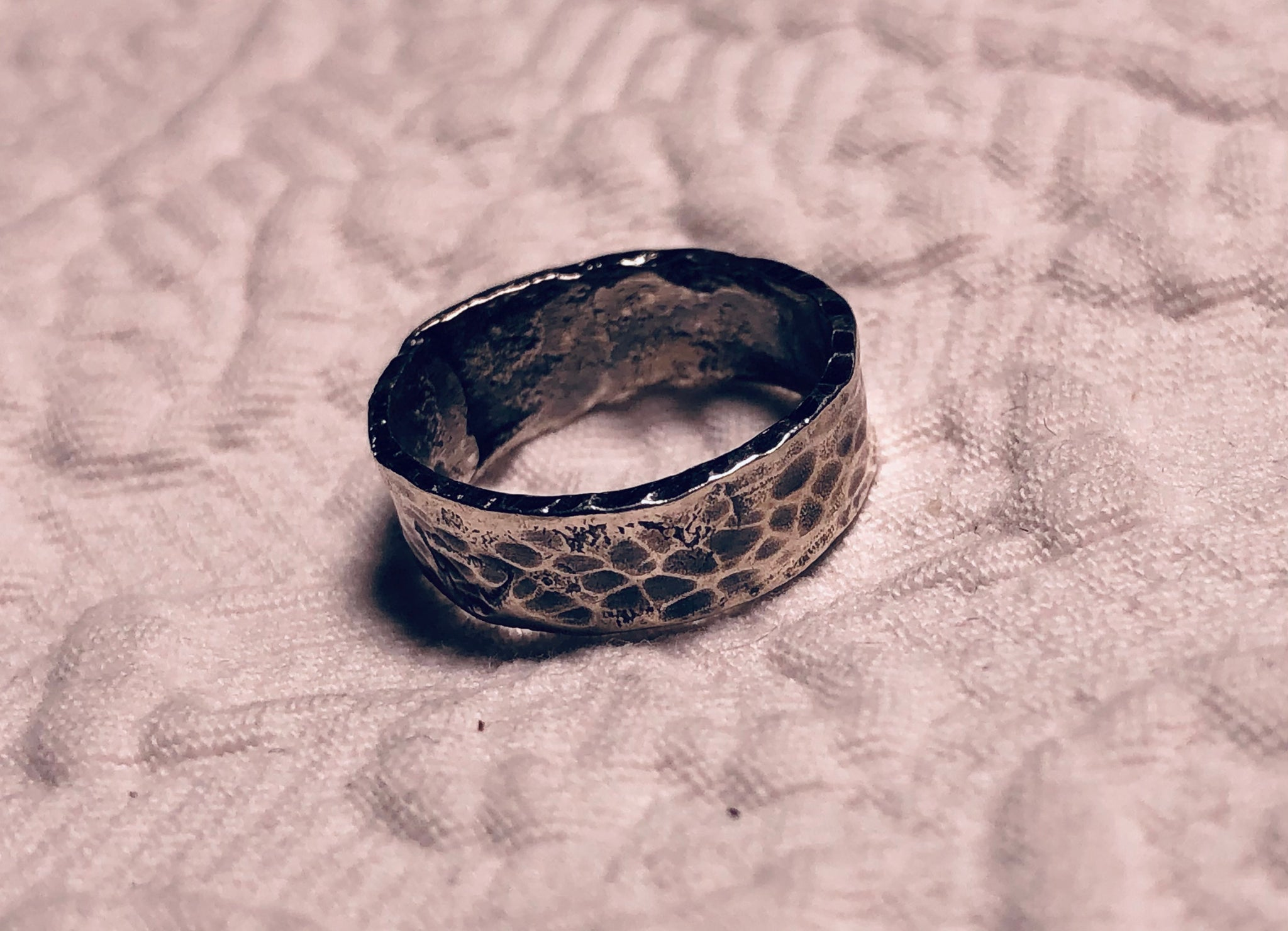 Hammered, Sterling Silver Ring size 6