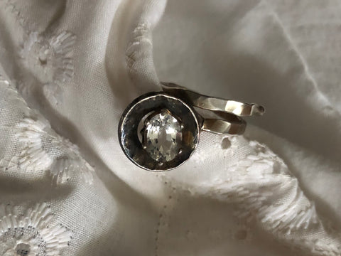 Silver & Copper Topaz Ring size adjustable