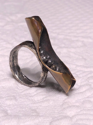 Copper, Brass, and Silver fused Ring size 7