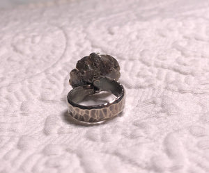 Hammered, Sterling Silver with Rose Gold Ring size 5