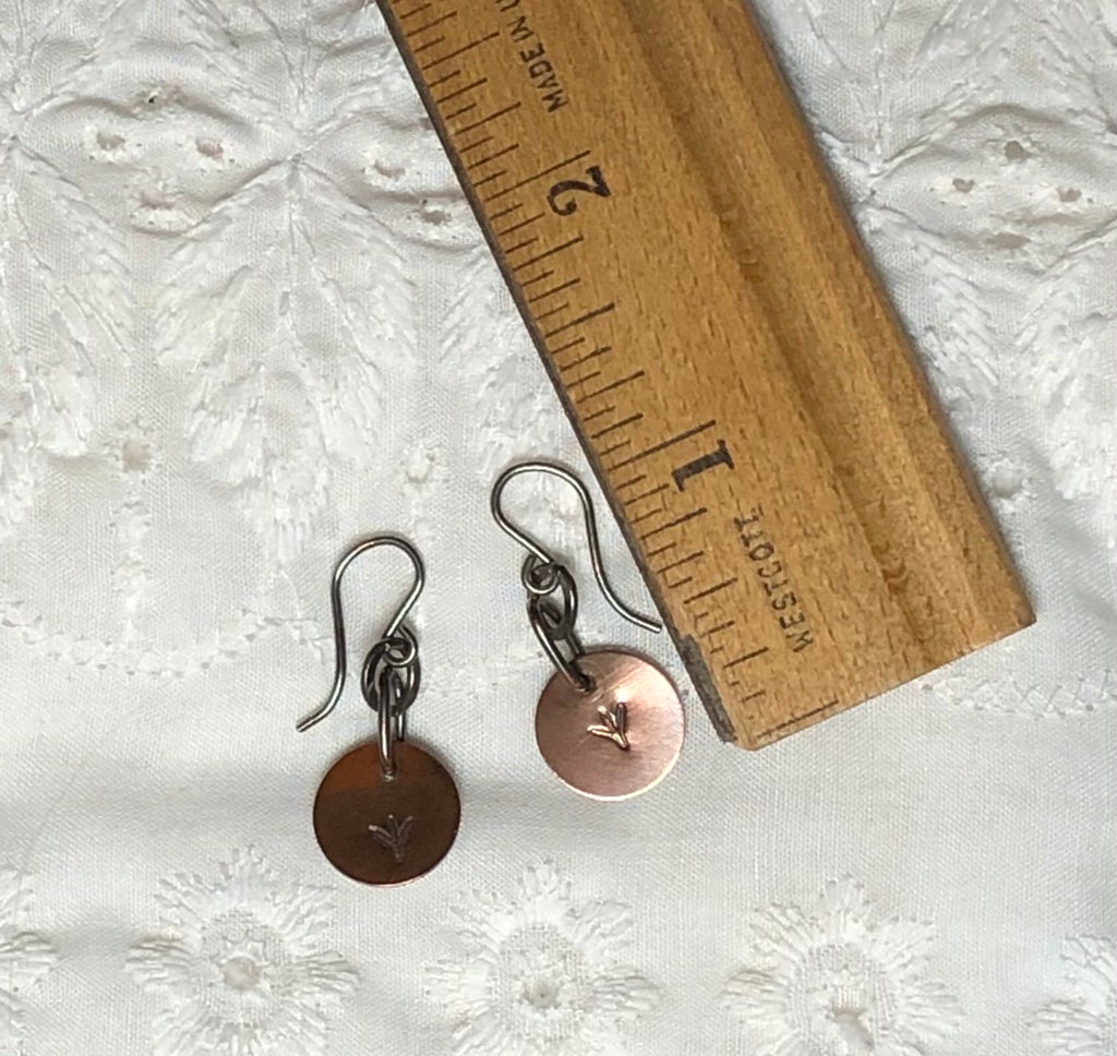 Copper & Sterling Silver Stamped Chicken Foot Dangle Earrings