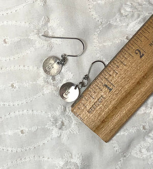 Silver & Steel Stamped Music Dangle Earrings
