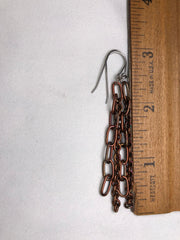 Copper Chain & Steel Dangle Earrings